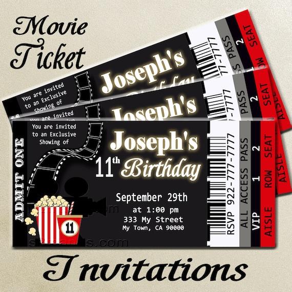 Movie Ticket Red Carpet Party Invitation Printable Invitation Diy Printable Hollywood Invite