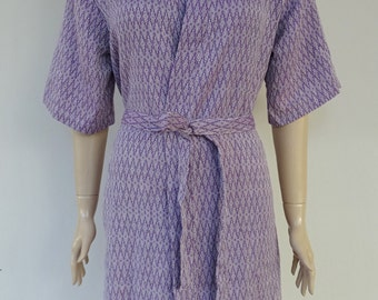 Purple colour super soft exclusive Turkish patterned cotton kimono bathrobe d09ad4a60