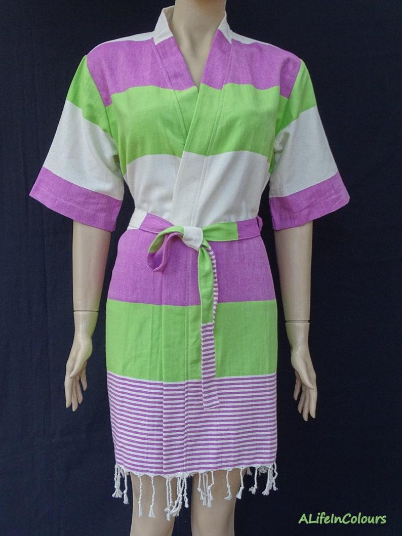 Women s lilac pink and green striped soft light weight cotton kimono  bathrobe ec08ed84a