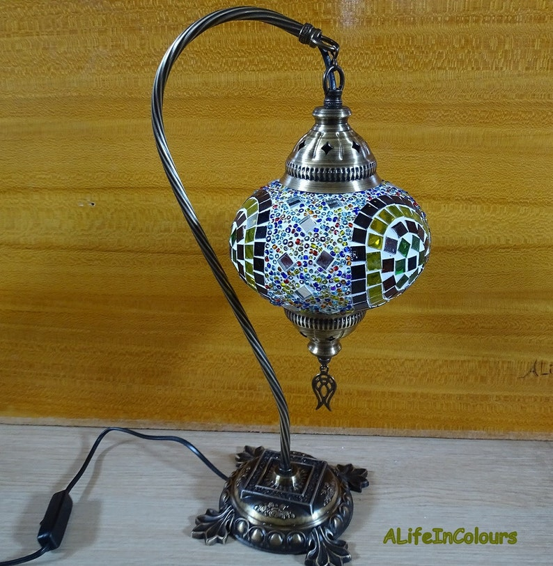 bedside lamp Swan neck Turkish handmade unique colourful glass mosaic table lamp livingroom decorative lamp. bedroom night lamp