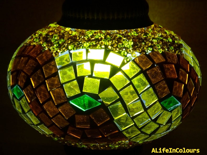 bedroom lamp bedside lamp colourful lighting kid/'s room lamp. Decorative handmade unique Turkish colourful glass mosaic table lamp