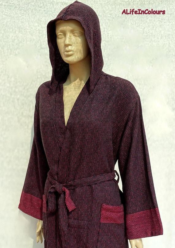 Black colour chevron patterned Turkish lightweight soft cotton hooded bathrobe.