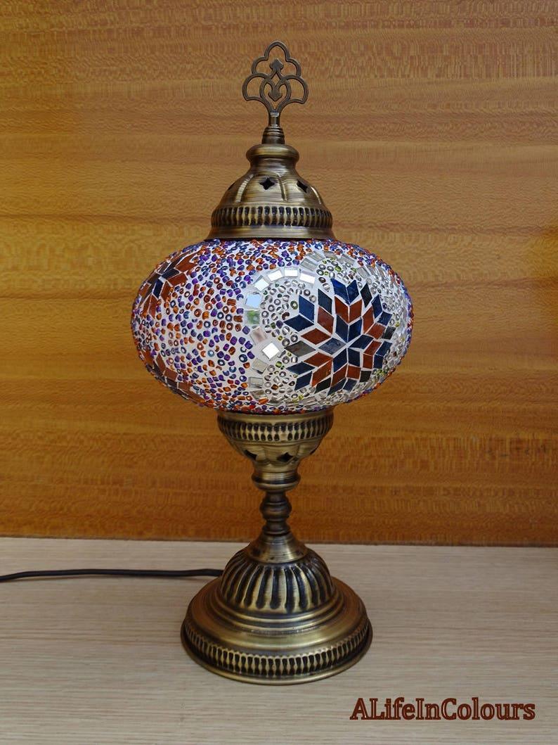 Lampa Stołowa Mozaiki Dekoracyjne Turecki Handmade Unikatowe Kolorowe Autentyczne Szkło Lampka Nocna Lampka Nocna Sypialnia Noc Oświetlenie