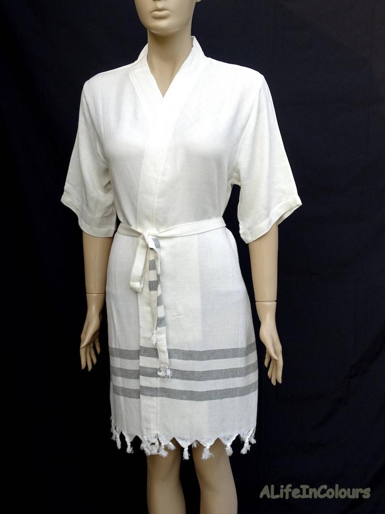 Women s dark green striped soft lightweight Turkish kimono bathrobe e3ab1b363