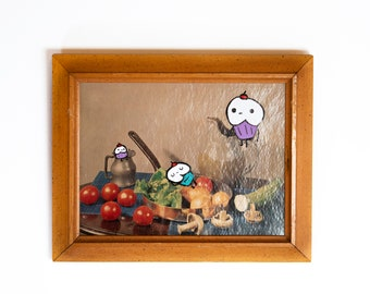 Cupcake Roommates - Upcycled Thrift Store Painting