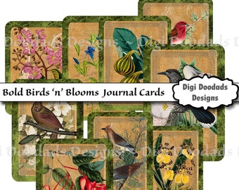 Printable Shabby Birds and Blooms Journal Cards Vintage for Junk Journal