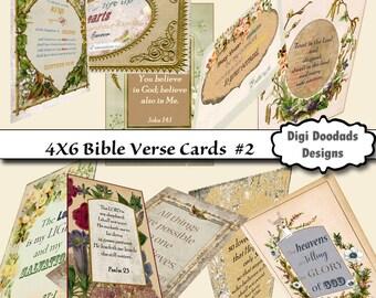 Scripture Cards Set 10 |  4X6 Prayer Cards | Vintage Cards Bible Verse