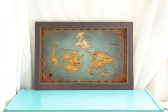 Final Fantasy VII World Map // Vintage Style Art Print // | Etsy