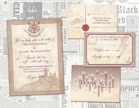 Geeky Wedding Invitation Wording: Harry Potter Wedding Invitation Set // Geeky Custom