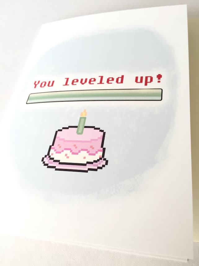 Level Up Birthday Card Geeky Gamer Greeting 8 Bit Art Retro