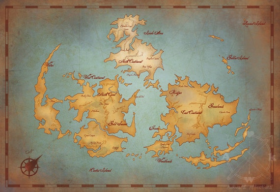 Final Fantasy VII World Map // Vintage Style Game Art Print // Gamer Print  // Geeky Home Decor // Video Game Map // Nerdy Home // Geek Gift