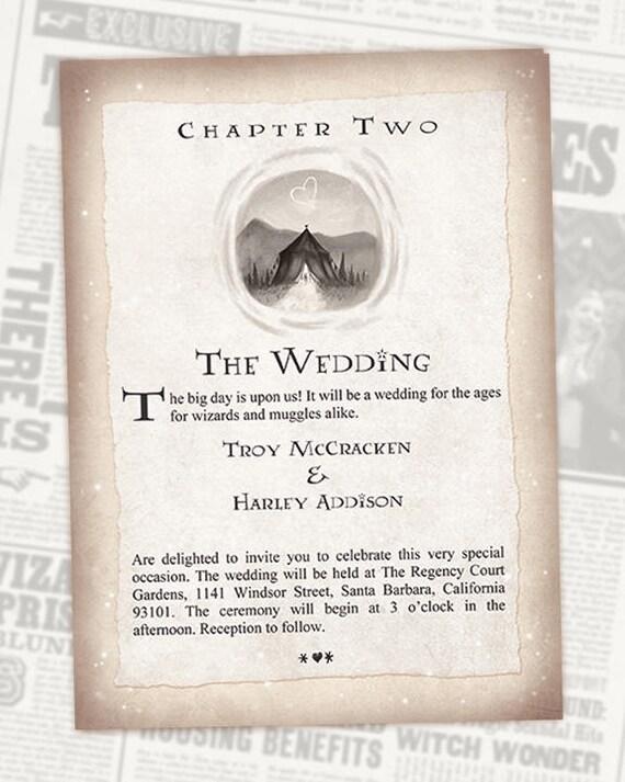 Harry Potter Formal Wedding Invitation Chapter 2 Digital Etsy