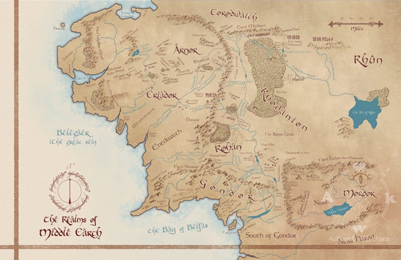 Mittelerde Karte Herr Der Ringe.Karte Von Mittelerde Herr Der Ringe Karte Illustration Tolkien Druck Geek Home Decor Herr Der Ringe Kunst Geek Geschenk Nerdy