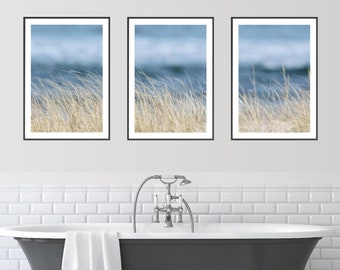 3 Print Set with beach grass on a sand dune with the ocean in the the background, Triptych Beach Wall Art, Coastal Decor Photographs