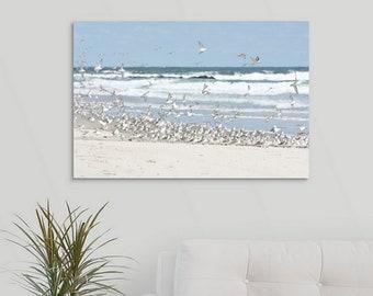 Flock of Birds on the Beach Canvas Wrap, Coastal Wall Art, Sanderlings on the Beach Shorebird photo,  Beach Color Palette, Cape Cod Style