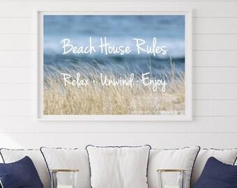 Beach House Rules, Beach Quotes, Beach Photography, Coastal Wall Art, Beach Grass and Ocean Photo 'Relax Unwind Enjoy' Inspirational Quote