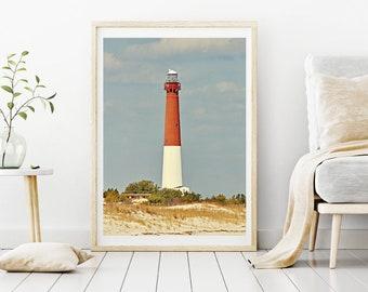 Old Barney Lighthouse photo - Long Beach Island NJ Coastal Wall Art, Jersey Shore Beach Photography, Living room beach art