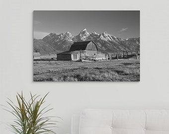 Ready to hang Canvas Wrap Black and White Photograph of the Moulton Barn in Grand Teton National Park, Wyoming