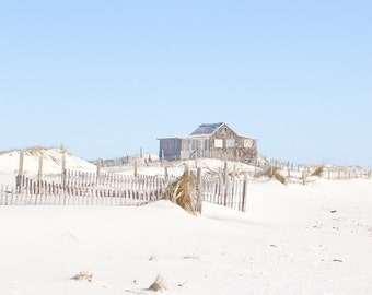 Coastal Wall Art, Beach Art, The Judge's Shack, Jersey Shore Beach Cottage with Sand Dunes and Beach Fence, Seashore Decor, Coastal Photo