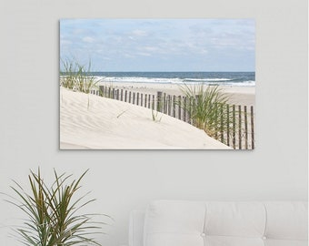 Stone Harbor dunes with beach fence Canvas Wrap, Coastal Wall Art, Jersey Shore Beach print on Canvas - Perfect for Home or Office