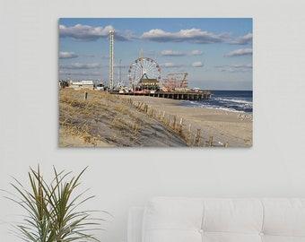 Canvas Wrap Art: Coastal Wall Art, Seaside Funtown Pier Boardwalk Photograph, Beach Art, Canvas Print, Ready to Hang Art, Beach Photography