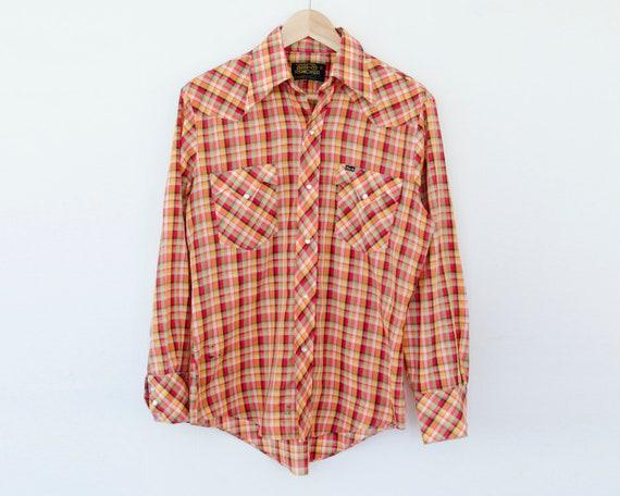 Ouest Pression Orange Homme Vintage Des À Chemise Carreaux En q7X8Pw