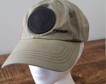 Vintage Olive Green Cotton FILSON With Duluth Pack Leather Patch Strap-back Baseball  Cap Hat fe81a55fe110