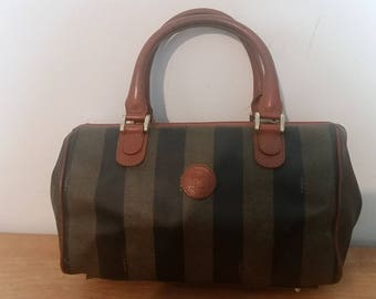 Lovely Vintage Auth FENDI Roma Italy Pequin Handbag Purse Brown  Leather Coated Canvas Italy c3a7dbc262f37