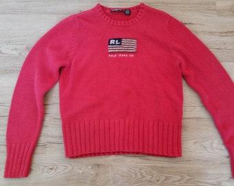 5c390ab8f Women s Vintage 1990 s Red 100% Cotton POLO JEANS Co. Ralph Lauren US Flag  Crewneck Sweater Sz-L
