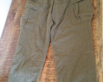 Vintage Original West Germany SERIOS Army Military 1960 s Olive Green Wool  Trousers Pants Sz-32x29 271367374
