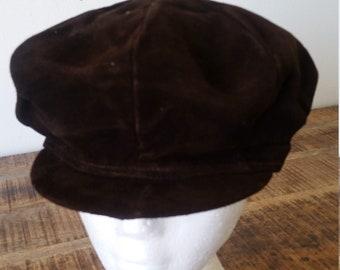 755f21c71a0fc Vintage 1970's Brown Suede Wojciechowski Polish Cabbie Newsboy Motorcycle  Biker Cap Hat One-Size