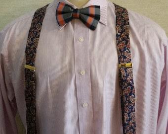 Men's Vintage 1990's Paisley Fabric Braces Suspenders With Black Elastic & Leather Fittings