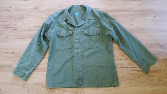 Men/'s Vtg Vietnam War 1970/'s U.S Army Military Olive Green OG-107 Cotton Fatigue Sateen Utility Shirt Size-14.5x33 T-3