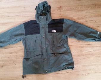 Men's Vintage Olive Green & Black The North Face Gore-Tex Raincoat Jacket Sz-L