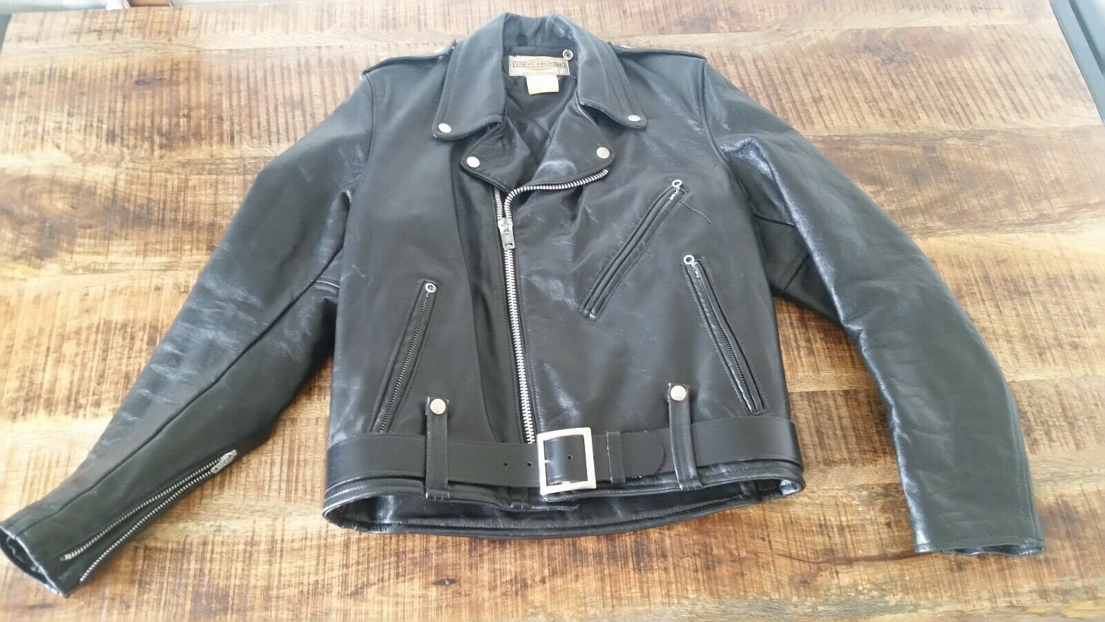 1960s – 70s Men's Ties | Skinny Ties, Slim Ties Mens Vintage 1960s Black Steerhide Harley-Davidson Motorcycle Biker Jacket Size-42 $40.00 AT vintagedancer.com