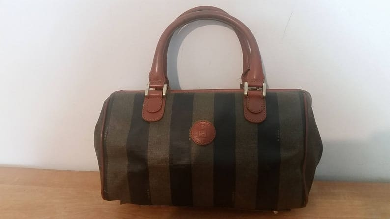27a487db7d Lovely Vintage Auth FENDI Roma Italy Pequin Handbag Purse Brown ...