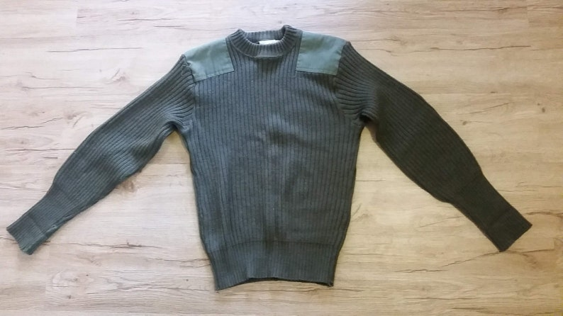 Men/'s Vintage US Army Military Sweater 100/% Olive Green Wool OD 2247 Crewneck Sweater Size-40