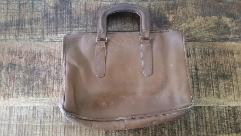 d6bb81fbdb Borsa porta documenti di Vintage Tan Leather marrone DORCELLE | Etsy