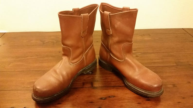 08e26afa729e6 Men's Vintage Brown Leather RED WING Shoes Steel-Toe Work Safety Boots  Sz-8.5E Wide