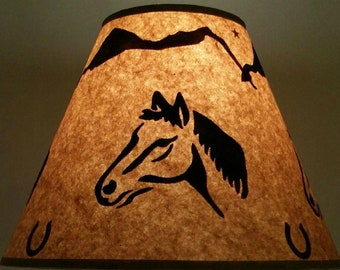 Cabin lamp shade etsy rustic lucky horse shoe lamp shade 12 inch bottom diameter 9 inch slant 5 inch top diameter log cabin lodge decor western cowboy ranch aloadofball Image collections