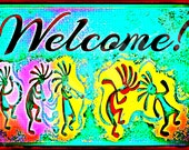 Kokopelli Welcome Distressed All Weather 8x12 Metal Sign Made In USA Rustic Southwest New Mexico Santa Fe Taos Navajo Zuni Arizona Route 66
