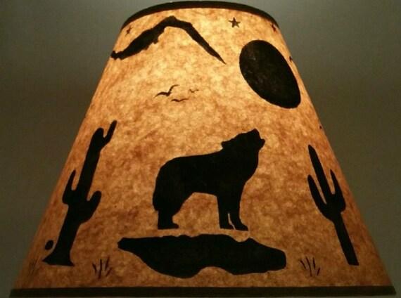 Rustic Southwest Coyote Lamp Shade 12 Inch Bottom Diameter 9 Inch Slant 5 Inch Top Diameter Log Cabin Lodge Ranch Arizona Desert Cactus