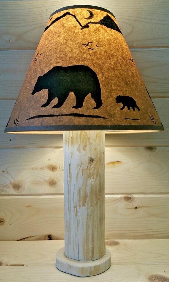 Rustic Bear Cedar Table Lamp Authentic Western Red Cedar Free Parchment Lamp Shade Cabin Ski Lodge Log Furniture Northwoods Decor