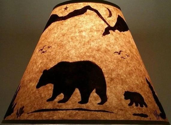Rustic Bear Lamp Shade 12 Inch Bottom Diameter 9 Inch Slant 5 Inch Top Diameter Log Cabin Ski Lodge Log Furniture Alaska Decor