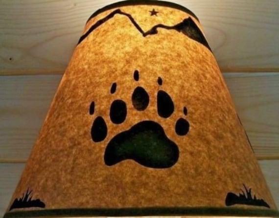 Rustic Bear Claw Lamp Shade 12 Inch Bottom Diameter 9 Inch Slant 5 Inch Top Diameter Log Cabin Ski Lodge Log Furniture Alaska Decor