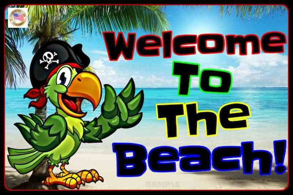 8x12 All Weather Metal Sign Margaritaville Beach Bar Happy Hour Welcome to Our Pool