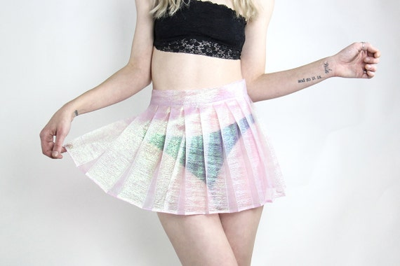 Handmade Iridescent Pleated Mini Skirt XS XL, Choose Your Size, Choose your color