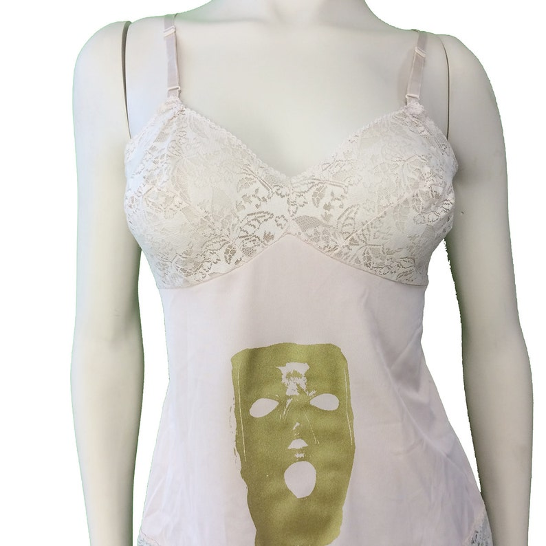 Vintage Peach Camisole with Gold Gimp Hood Print SALE OOAK Upcycled 38A