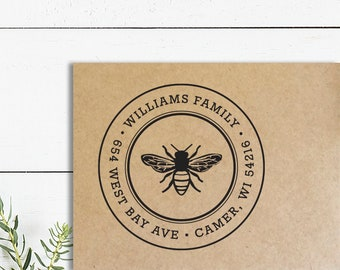 Bee Awesome Stamp Return address stamp Bee Stamp Custom Self-inking Stamp