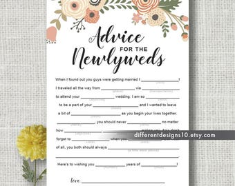 Wedding Advice Cards Mad Libs Advice for Newlyweds Wedding Day Reception Wedding Mad Libs Game Printable Wedding Games Instant Download